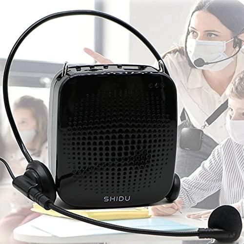 Amplificador de voz 15W para micrófono, ultraligero, sistema de PA con altavoz, micrófono recargable, compatible con tarjeta USB/TF/Aux, sonido súper claro para Profesor/cantar/parkinson, etc.