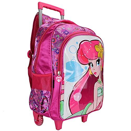 Mochila Escolar Infantil Menina Princesa Sereia Rodinhas (Rosa)