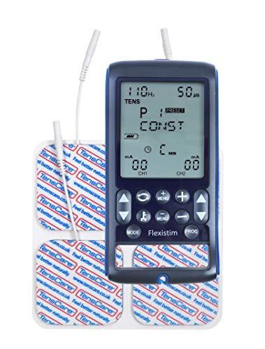 TensCare Flexistim - Electroestimulador Completo con 4 terapias: EMS, Tens, Ift y Microcorriente. Dispositivo pequeño Pero potente, con mas de 50 programas