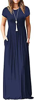 Women's Short Sleeve Loose Plain Long Maxi Casual Dresses with Pockets