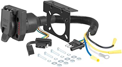 CURT 57674 Dual-Output 4 Flat Vehicle-Side to 7-Way RV Blade Trailer Wiring Adapter with Tester