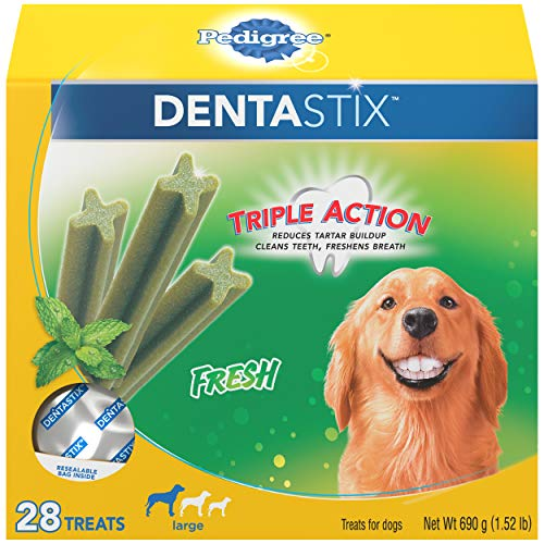 PEDIGREE DENTASTIX Fresh Breath Large Dog Dental Treats Fresh Flavor Dental Bones, 1.52 lb. Pack (28 Treats)