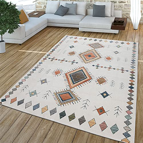 TT Home Alfombra, Alfombra De Pelo Corto para Salón, Diseño Étnico, Efecto 3D, Beige, Größe:80x150 cm