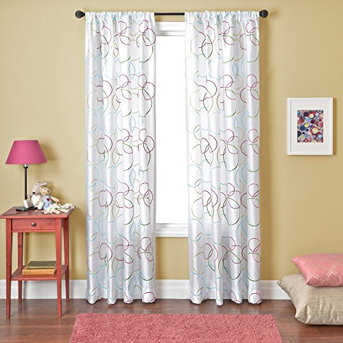 Softline Home Fashions Kora Serie Kunstseide Fenster Vorhang/Fall/Behandlung/Panel mit Stab Pocket, weiß, 55 Inches x 96 Inches