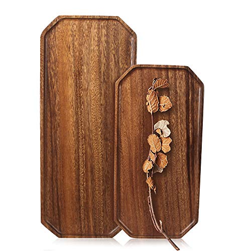 Set of 2 Acacia Wooden Rectangular Serving Tray 16' and 13' Long Dessert Appetizer Plates Salad Plates for Fruit Cookie Platter Bread Vegetable Trays Food Dish