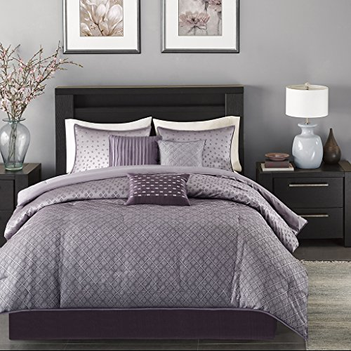 Madison Park Biloxi 7 Piece Comforter Set-Purple-Queen