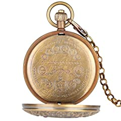 Retro Large Mechanical Watch for Men Horizontal Phases Moon Sun 24 Hour Skeleton Pocket Watches for Women Pendant Chain #3