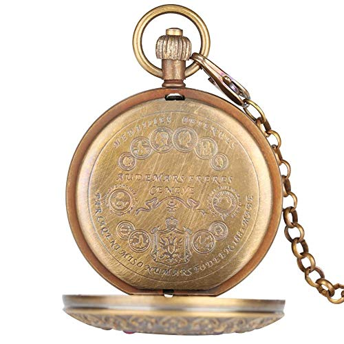 Retro Large Mechanical Watch for Men Horizontal Phases Moon Sun 24 Hour Skeleton Pocket Watches for Women Pendant Chain steampunk buy now online
