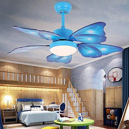 TGRBOP Niños Azul Mariposa Forma Luces De Techo Con Ventiladores 42'Luz De Ventilador De Techo Para La Habitación De Los Niños Ventilador De Techo De 5 Cuchillas Dimmable Con Lámpara De Ventilación S