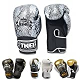 Top King Boxing Gloves for Training and Sparring Muay Thai, Boxing, Kickboxing, MMA (Snake (Air) - Black/Silver, 16 oz)