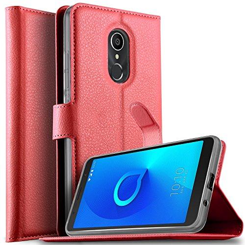 KuGi DOOGEE X6S Hülle, DOOGEE X6S Wallet Case, Brieftasche Case Hülle PU Kunstleder Flip Case mit Standfunktion Kartenfächer & Bargeld für DOOGEE X6S Smartphone.Rot
