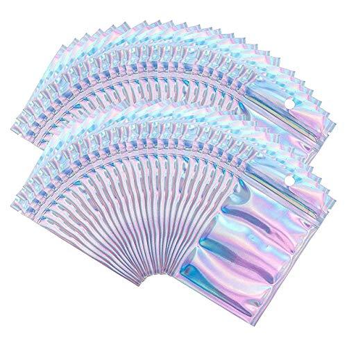 100pcs / set Bolsa con cierre hermético resellable Bolsas de embalaje de cosméticos Bolsas de maquillaje de juguetes Bolsas de almacenamiento de alimentos (colores deslumbrantes; 10 * 15 cm) BCVBFGCX