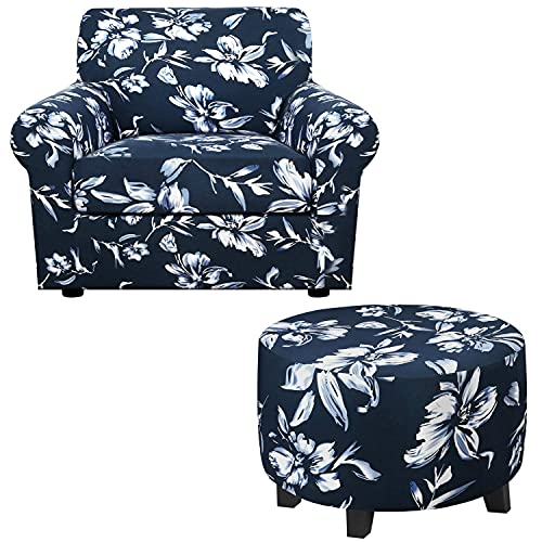 Super Stretch 2 Pieces Sofa Covers for Armchair Covers Bundle Medium Round Ottoman Slipcover, Navy with Lilies Pattern