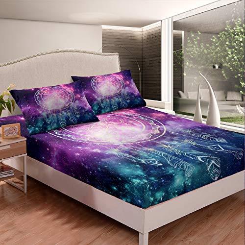 Juego de cama de diseño bohemio de atrapasueños con diseño de plumas indias y fundas de almohada con 2 fundas de almohada de 3 piezas de cama King