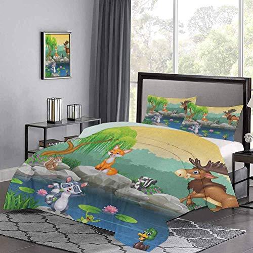 Yoyon dreiteiliger Bettbezug Lustige Maskottchen Tiere am See Elch Fuchs Eichhörnchen Waschbär Kinder Kinderzimmer Thema Weiche leichte Bettdecke So entzückend und vielseitig Mehrfarbig
