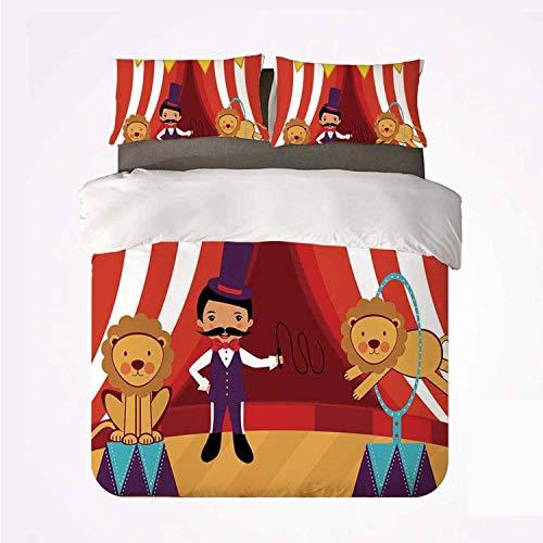 Set copripiumino Circo Decor Morbido set di biancheria da letto 3 pezzi, Domatore e leoni Spettacolo da circo Divertente festa decorativa per camera da letto