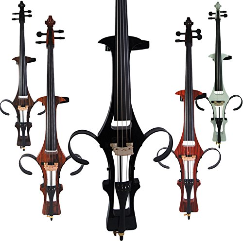 Leeche Handmade Professional Solid Wood Electric Cello 4/4 Full Size Silent Electric Cello-Black