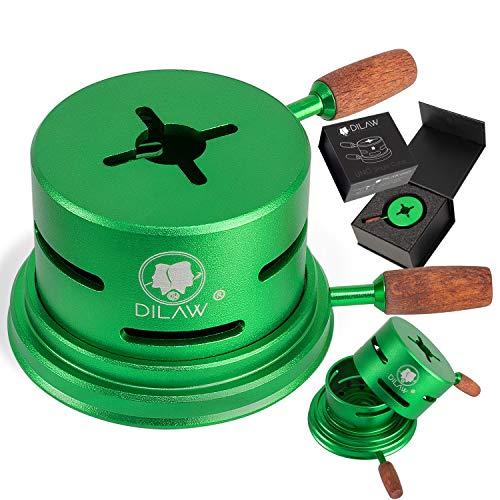 DILAW® Shisha UNO Smokbox | mit nur 1 Kohle | Kamin-aufsatz Aluminium Alu | Passt auf beinahe jeden Kopf | spart Kohlen | Länger Rauchen | für Tabakkopf Kohle Aufsatz | Grün