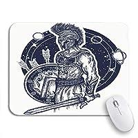 NINEHASA 可愛いマウスパッド 剣闘士スパルタ戦士持株剣と盾のタトゥーシンボルノンスリップゴムバッキングノートブックコンピューターマウスマット