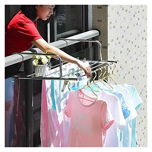 CARCC Hangers clothing Stainless Steel Foldable Drying Rack Clothes Hanger Dryer Indoor Outdoor Balcony Telescopic Shelf Window Balcony Drying Racks,Clothes Airera (Size : S length 50cm)