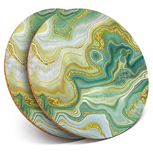 Great Coasters (Set of 2) Round with - Green Jade Agate Marble Effect Drink Glossy Coasters/Tabletop Protection for Any Table Type #21516