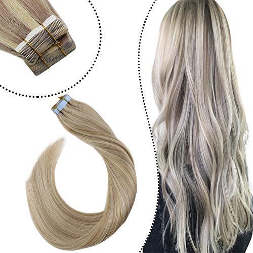 Ugeat Hair Extension Tape Tabs Double Sided Unsichtbar Tape in Extensions Echthaar Remy Naturlich Haarverlangerung Aschblond Highlights Bleichblond (14zoll/35cm, 50GR/20PC)