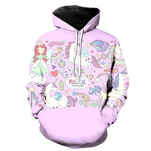 black friday natale FGVBWE4R Stampa 3D Divertimento Rainbow Unicorn Bambini Pink Felpa con Cappuccio Regalo di Natale Black Friday Gift for Children 2019 New-L