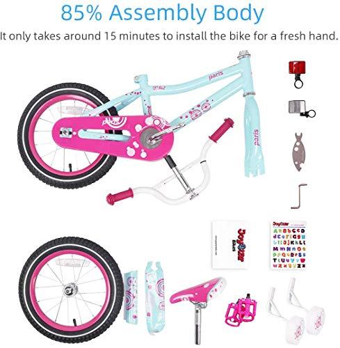 JOYSTAR 16 Inch Girls Bike with Training Wheels for 4 5 6 7 Years Old Kids, Birthday Gift Children Bicycle with Training Wheels and Hand Brake, Blue