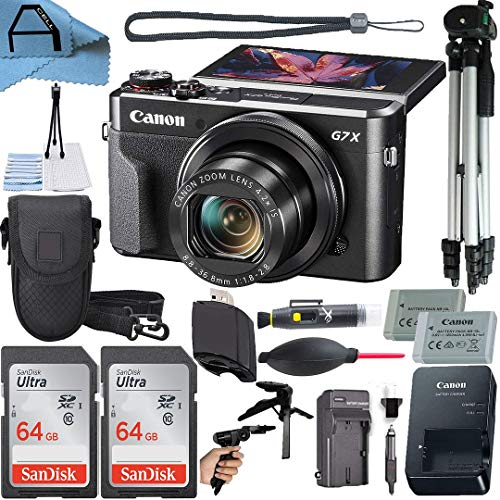 Canon PowerShot G7 X Mark II Digital Camera 20.1MP Sensor with 2 Pack SanDisk 64GB Memory Card, Case, Full Size Tripod and A-Cell Accessory Bundle (Black)
