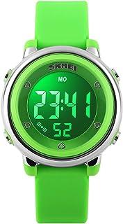 ساعة أطفال متعددة الوظائف 7 أضواء ملونة معصم طفل ساعة رقمية رياضية مقاومة للماء، ساعة توقف إنذار للصبي والبنات والأطفال