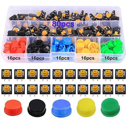 GTIWUNG 160 Piezas 12 x 12 x 7.3 mm Interruptor de Boton Momentaneo Tactil, Micro Interruptor, Interruptor Táctil Momentáneo, con 5 Colores Ronda Tapa, Utilizado para PCB