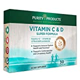 Essential Immunity - Once Daily Vitamin C + D Super Formula by Purity Products - 500 mg PureWay-C - 1000 IU Vitamin D3 - Citrus Bioflavonoids, Rose Hips Extract, Rutin + More - 30 Caps (Box)