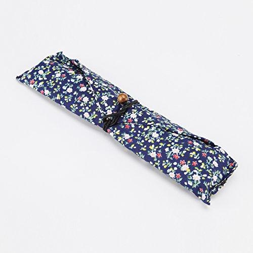 Ecloud Shop® Ensemble de table en bois naturel de style japonais fait à la main (1 cuillère, 1 baguettes 1 fourche, 1 porte-baguettes, 1 sac à vaisselle bleu floral)