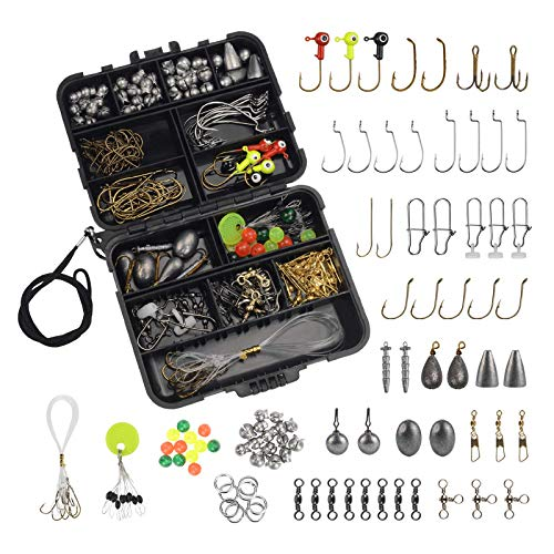MadBite Freshwater Terminal Tackle Kits, 181 pcs, Fishing Hooks, Fishing Accessory Kit, Freshwater Fishing Gear, Fishing Tackle, Fishing Weights & Sinkers, Jig Hooks, Floats and Bobbers