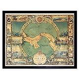 Map Tripp 1930 Panama Pictorial Art Print Framed Poster