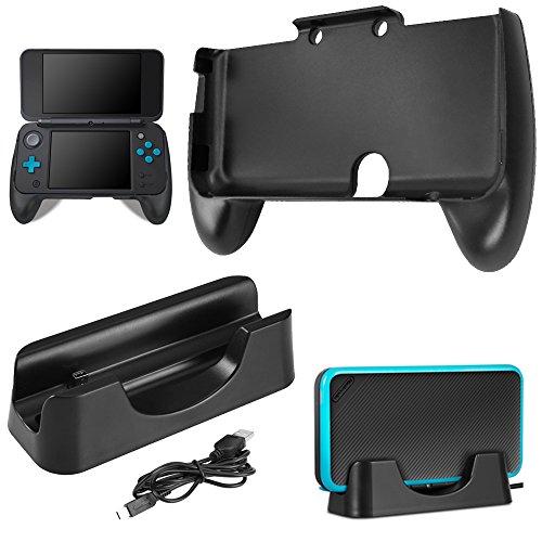 AFUNTA Ladestation für New Nintendo 2DS XL mit Handgriff, Ladestation Cradle Stand mit Mini-USB-Kabel und Kunststoffgriff für 2017 Nintendo 2DS LL - Schwarz