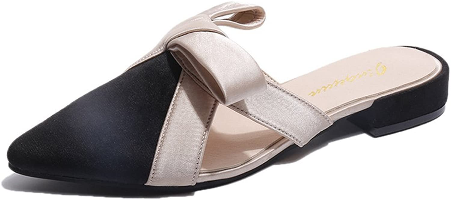 Btrada Women's Sexy Pointed Head Mules Fashion Flats Closed Toe Slip On Slide Sandals Lazy shoes Slippers