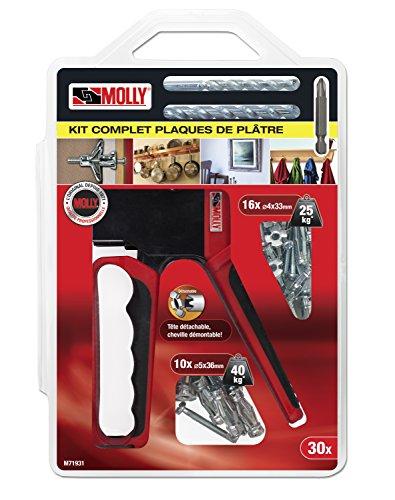 Molly m71931-Set 26Dübel + Klemmvorrichtung–16Dübel Metall 4x 33mm–10Dübel Metall 5x 36mm + Setzeisen + 2Bohrer 8mm und 11mm + 1Aufnahmeschaft PH2