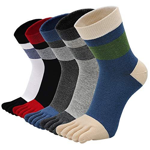 LOFIR Calcetines con Dedos Separados para Hombre Calcetines 5 Dedos, Calcetines de Algodón de Deporte para Niños, Talla 45-48, 5 pares