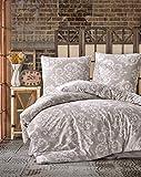 ZIRVEHOME Bettwäsche 155x220 cm Beige/Weiß Barock Muster, 100% Baumwolle/Renforcé 2 teilig...
