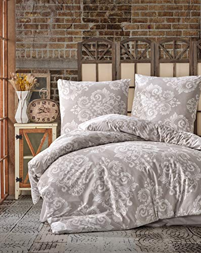 ZIRVEHOME Baumwolle Bettwäsche 200x220 cm. Beige, 100% Baumwolle/Renforcé, 3 teilig Bettbezug Set Weiß Barock Muster, 2 mal Kopfkissenbezuge 80x80 cm. Verdeckter Reißverschluss, Model: Sade V2