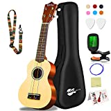 Soprano Ukulele Beginner Pack-21 Inch w/Rainbow String Gig Bag Fast Learn...