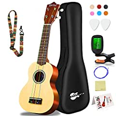 "✅KEEP CALM & PLAY THE UKULELE - Discover the unique melodic sound of the Hawaiian Islands with our elite ukulele starter pack! Now you can teach yourself the ukulele thanks to our all-inclusive beginner's kit that includes a 21"" ukulele, a digital tu..."