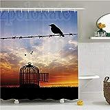 CHENHAO Cortina de baño con Anilla, Anti-Moho, baño, Alambre de púas Pájaro escapado en Alambre de púas Jaula de pájaros Gorrión Freedom Meadow at Sunset Clouds 180x200cm
