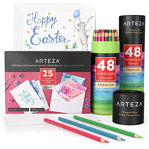 Arteza Watercolor Cards Bundle, Painting Art Supplies for Artist, Hobby Painters & Beginners