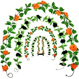 WILLBOND 4 Pieces 7.7 Feet Christmas Rose Vine Artificial Rose Vine Hanging Flower Garland for Christmas Indoor Outdoor Home Wall Decorations (Black and Orange)