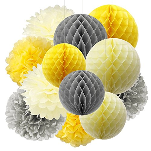 Baby Shower Girl Pompoms Dekoration Furuix gelb grau Creme Papier Dekoratione Baby Shower Bridal Shower Geburtstag Dekor Hochzeit Dekor Party Dekor Wandbehang Dekoration