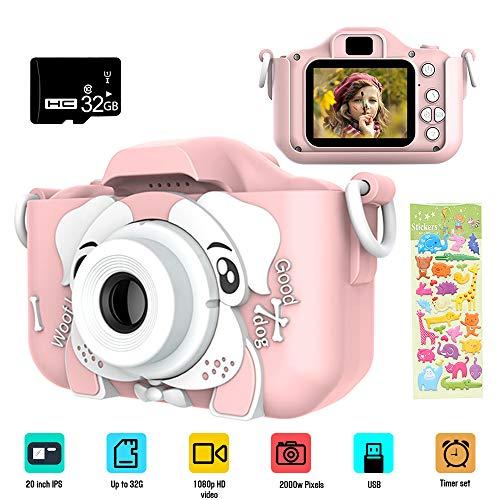Dewanxin Camara Fotos,Camara para Niños,Cámara Fotos Niños con Zoom Digital de 3X 10MP / 1080HD,Video Cámara Infantil con Pantalla de 2 Pulgadas,Carcasa de Silicona,con Tarjeta de 32GB TF (Pink)
