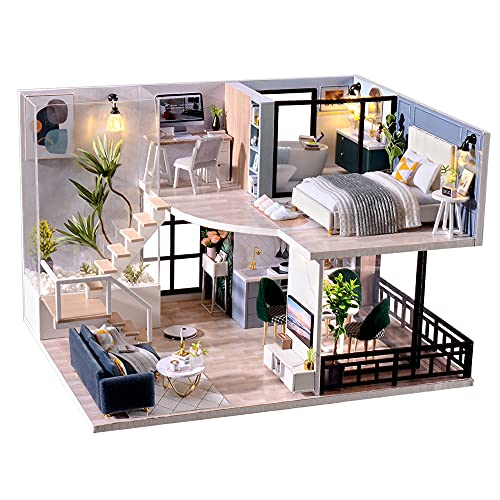 TuKIIE DIY Miniature Dollhouse Kit with Furniture, 1:24 Scale Creative Room Mini Wooden Doll House Accessories Plus Dust Proof & Music Movement for Kids Teens Adults(Satisfied Time)