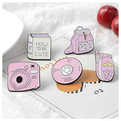 JIWEIER Esmalte guía telefónica móvil de la cámara CD de metal Insignas rosa de la muchacha pernos de las...